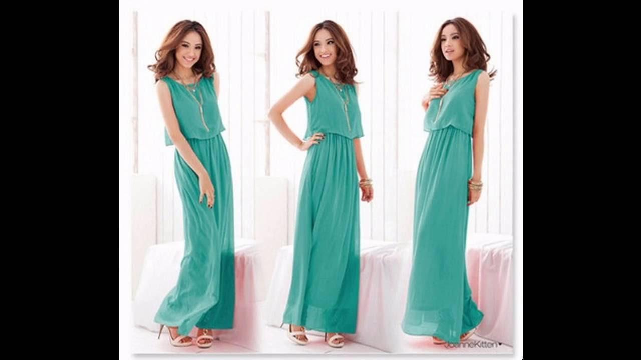 Vestido verde largo complementos