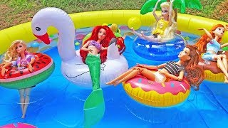 Disney Princess Barbie Puppy Summer Pool Party Sandy Floating Ring