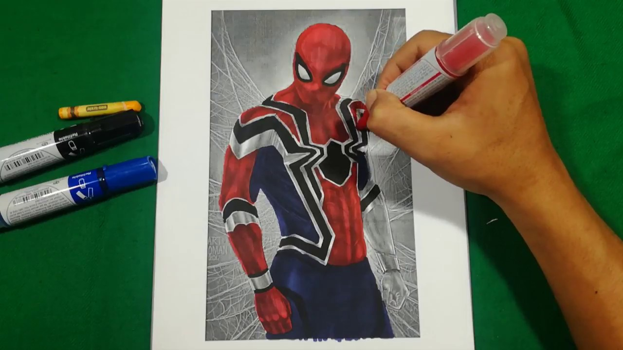 iron spider coloring pages SPIDER MAN HOMECOMING IN IRON SPIDER Coloring Pages SAILANY  iron spider coloring pages