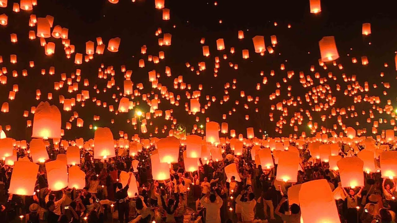 lantern festival lights up sky over northern thailand youtube