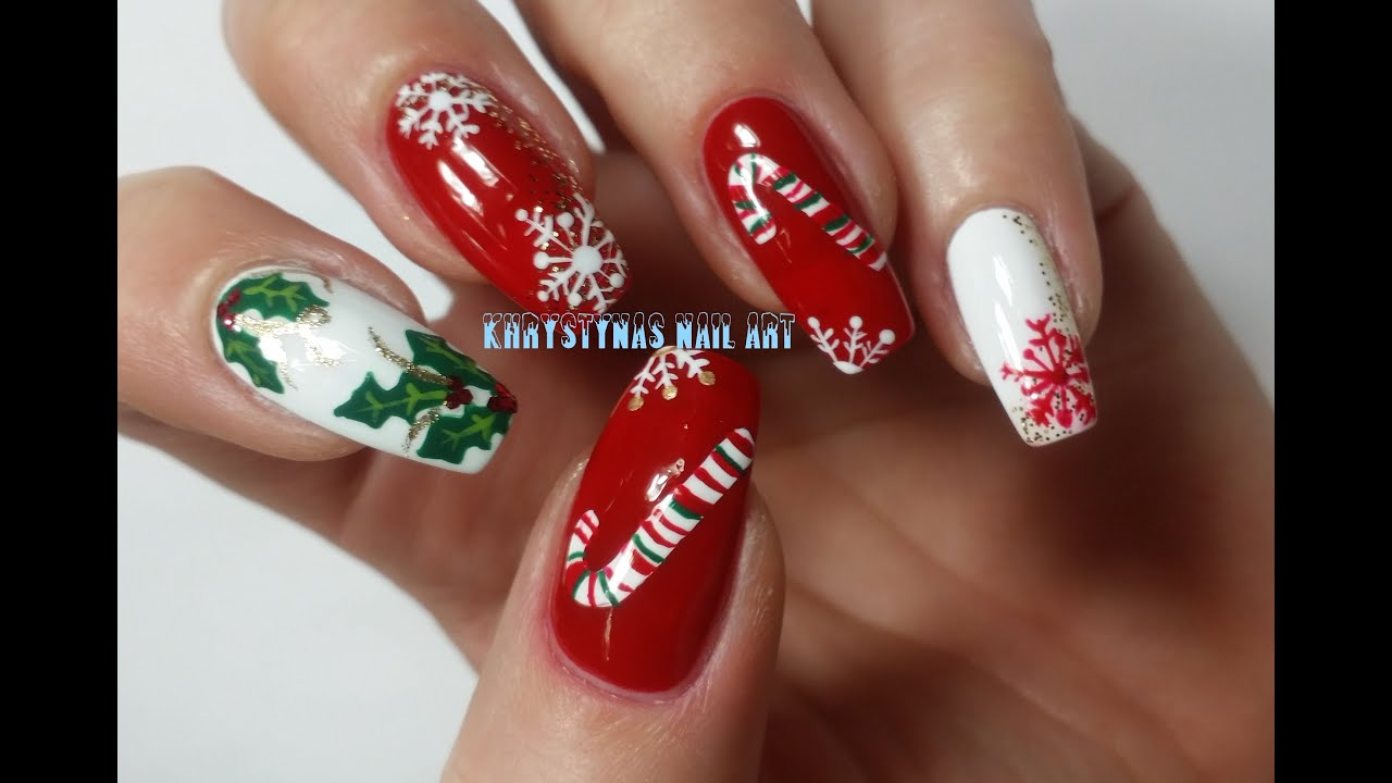 Christmas/New Years Nails: Three Nail Art Designs for Holidays #2 ...