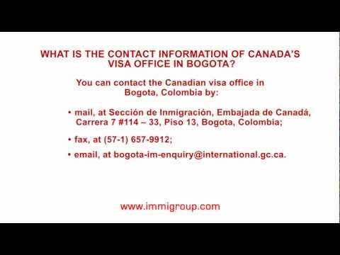 What is the contact information of Canada's visa office in Bogota?