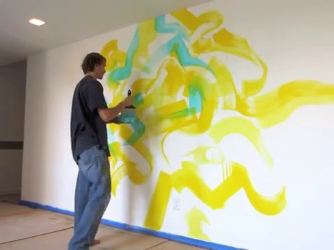 Abstract Mural painting process - YouTube