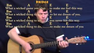 Wicked Game (Chris Isaak) Guitar Cover Lesson with Chords/Lyrics - Bm A E
