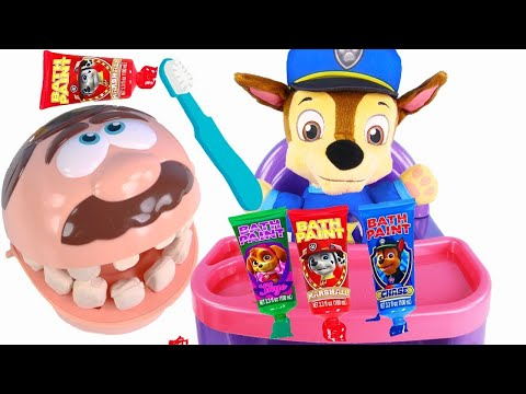 Paw Patrol Chase Visits PlayDoh Dentist with Mr. Doh Teeth