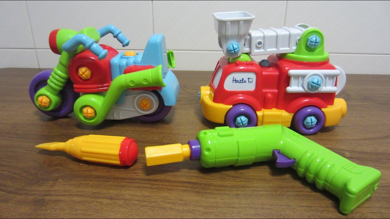 abrir juguetes montar y desmontar un coche de bomberos y una moto juegos para nios y nias youtube