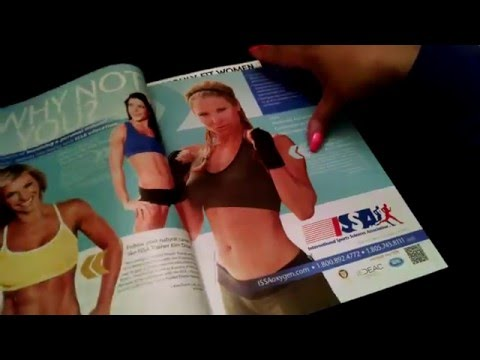 ASMR  Fitness Magazine Flip ( whispering, paper sounds, gum chew and hard candy eating.