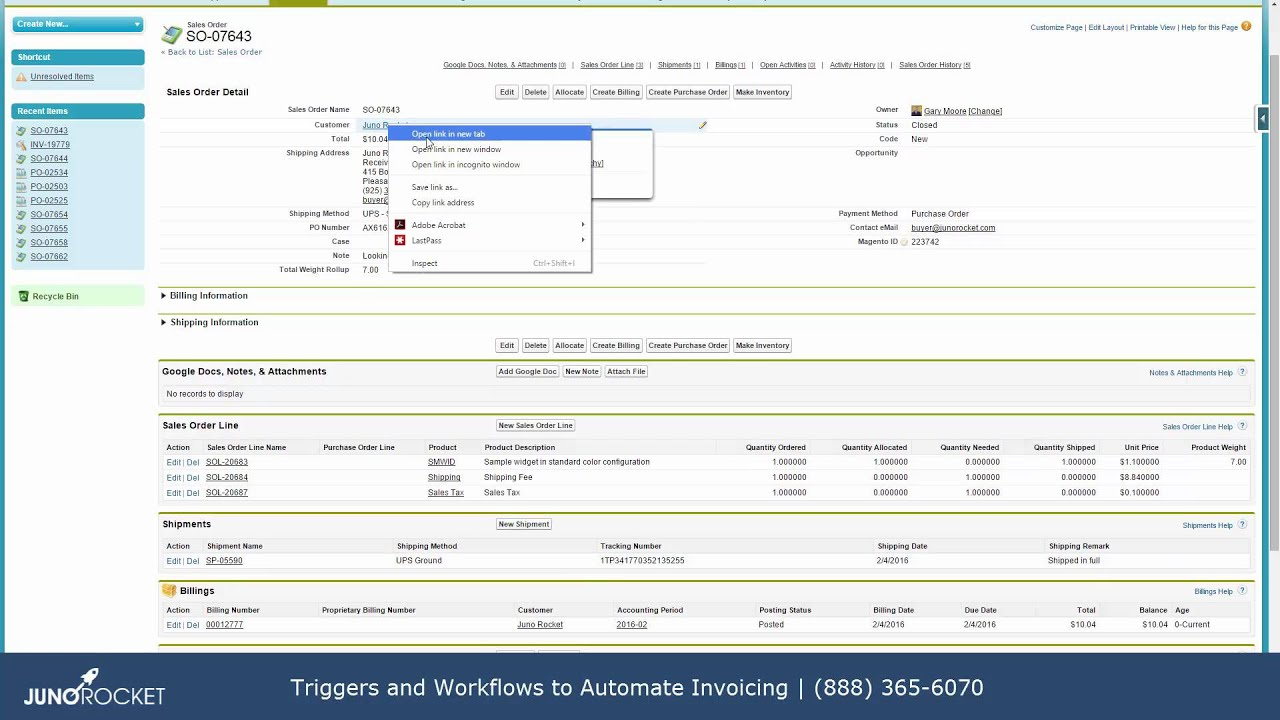 Salesforce Workflows And Triggers To Automate Invoicing From Juno - Salesforce invoicing app