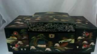 Japanese Lacquer Jewelry Music Box Sukiyaki Mt Fuji