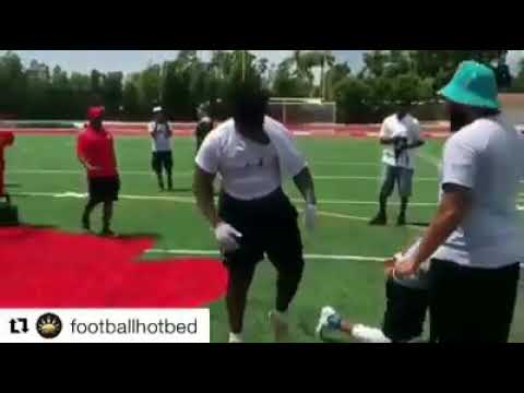 "Miami Central (FL) 21' OL Laurence ""Big Baby"" Seymour showing his strength at the Underclassmen Show"