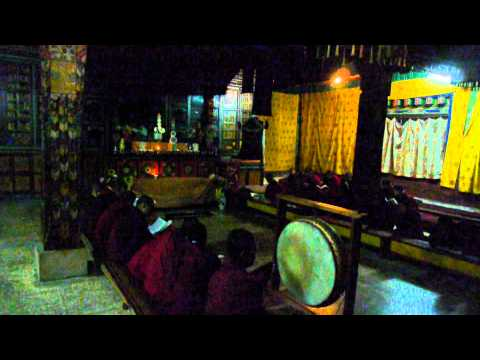 Prayers in the dark, Namkhe Nyingpo Goemba, Jakar, Bhutan