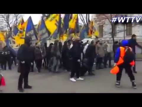 """Azov"", fascist regiment, organized a protest March  - Ukraine Kiev"