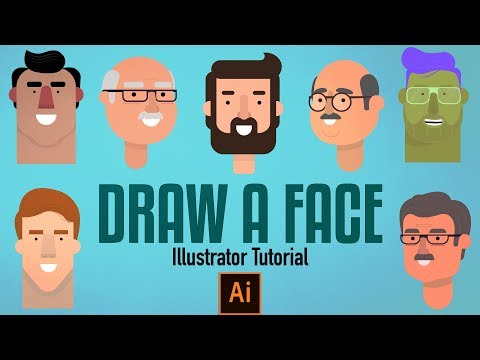 Adobe Illustrator Tutorial - How to Draw a Character Face for beginners thumbnail