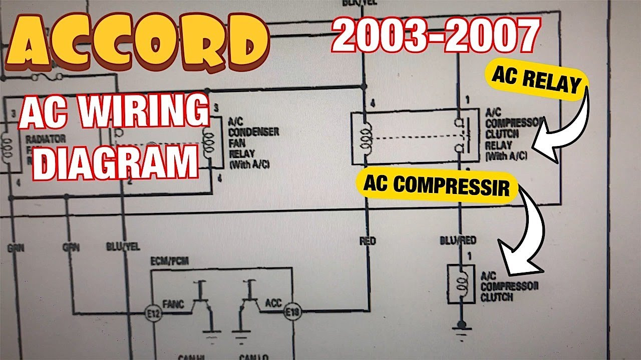 Honda Accord 2.4L 2003 to 2007 AC Compressor wiring diagram, relay and fuse  explained - YouTubeYouTube