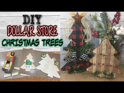 DIY DOLLAR STORE Christmas Trees | Farmhouse Inspired | Rustic Christmas Decor | Tree Stand Idea