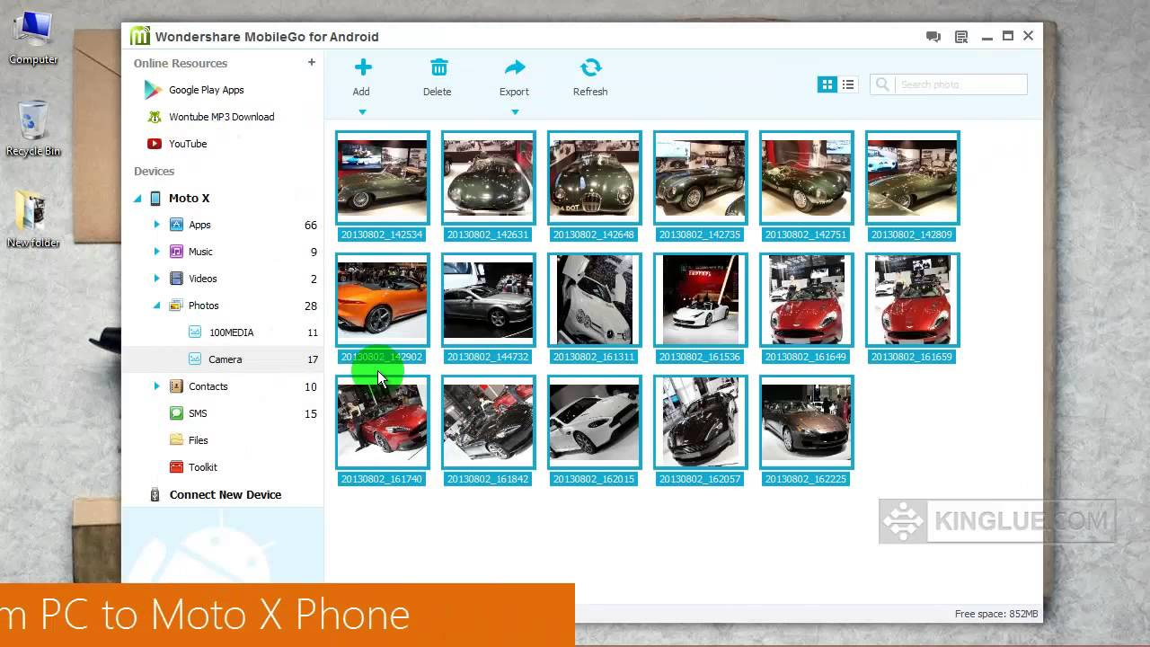 how to add pics to phone from pc