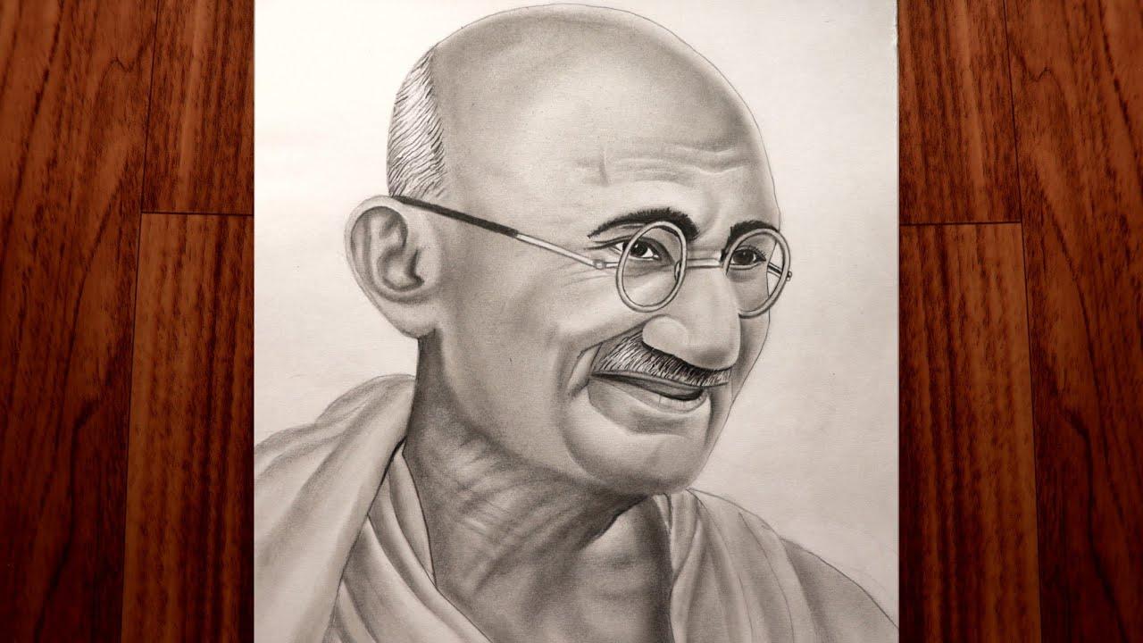 Mahatma Gandhi Drawing | Fine Arts Guruji