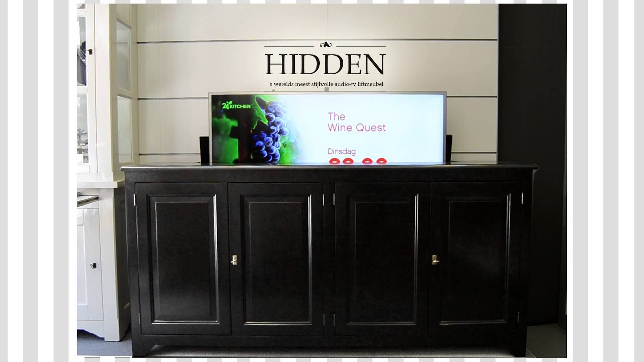 HIDDEN TV lift meubel / dressoir / cabinet - YouTube