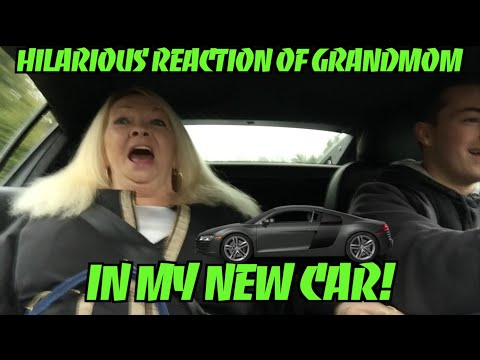 Hilarious Reaction Of Grandmom In My New Car! - Audi R8 V10 (2015) - Prank - Reaction Video