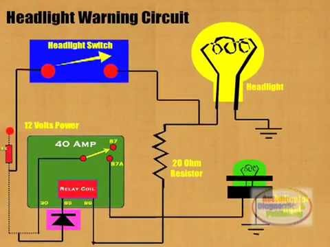 hqdefault how to connect headlight warning relay youtube HID Ballast Schematic at bakdesigns.co