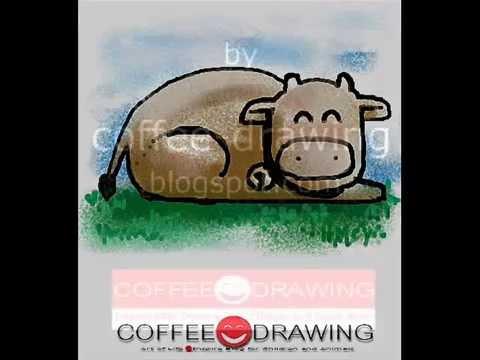 how to draw cow สอนเด็กวาดรูปการ์ตูน วัว [by coffee-drawing]