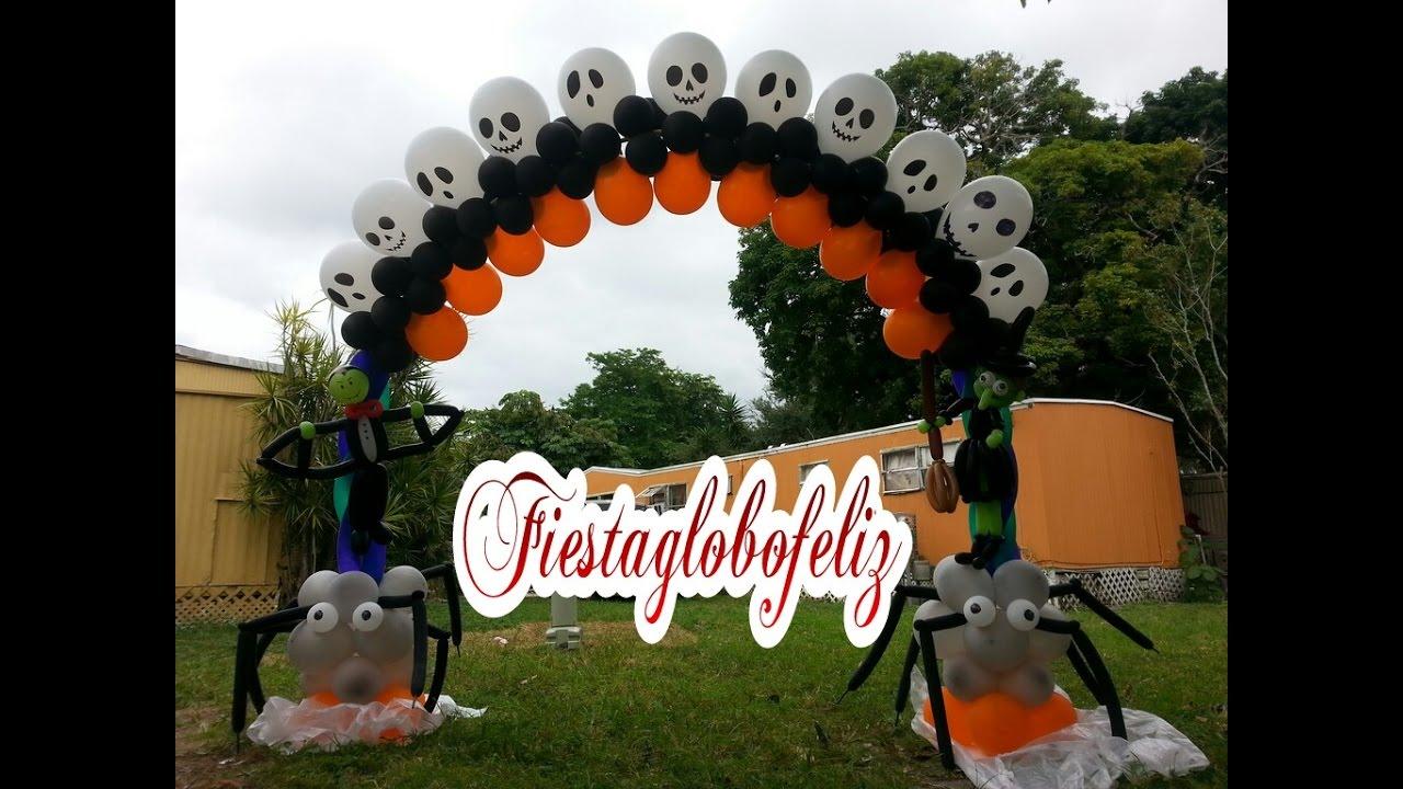 Arco para halloween con globos - YouTube
