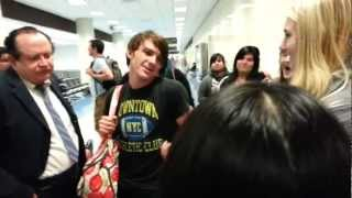 Drake Bell at LAX talking about Justin Bieber