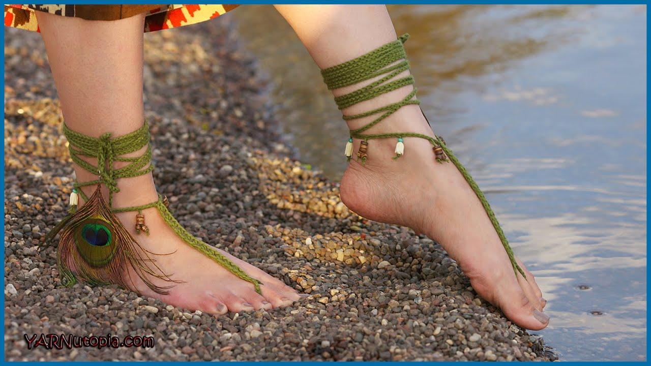 Crochet Tutorial Tribal Barefoot Sandals Youtube