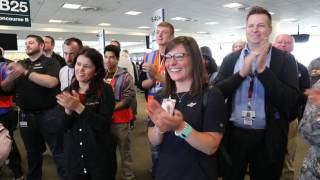 A Southwest Airlines Flight Attendant is Surprised with $5,000 prize!