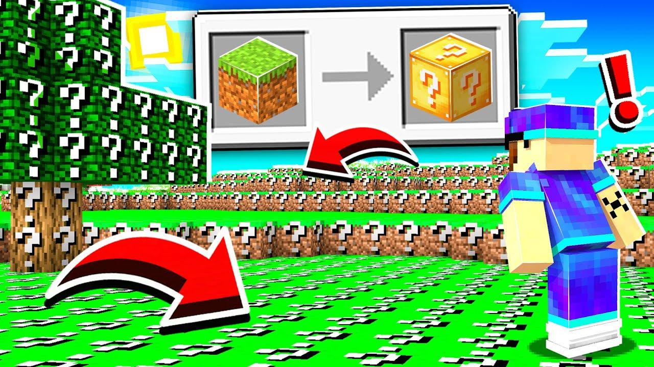 Minecraft MAIS tous les blocs sont des Luckyblocks ! (trop cheat !)