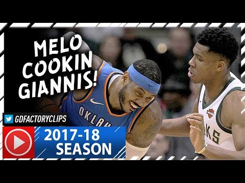 Carmelo Anthony vs Giannis Antetokounmpo Duel Highlights (2017.10.31) - Hoodie Melo vs Greek Freak!