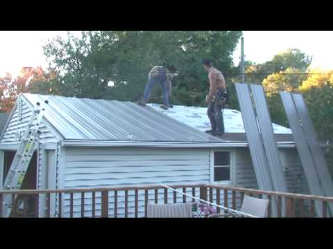 Roof Work Part 4 Installing Panels On Garage Roof Youtube