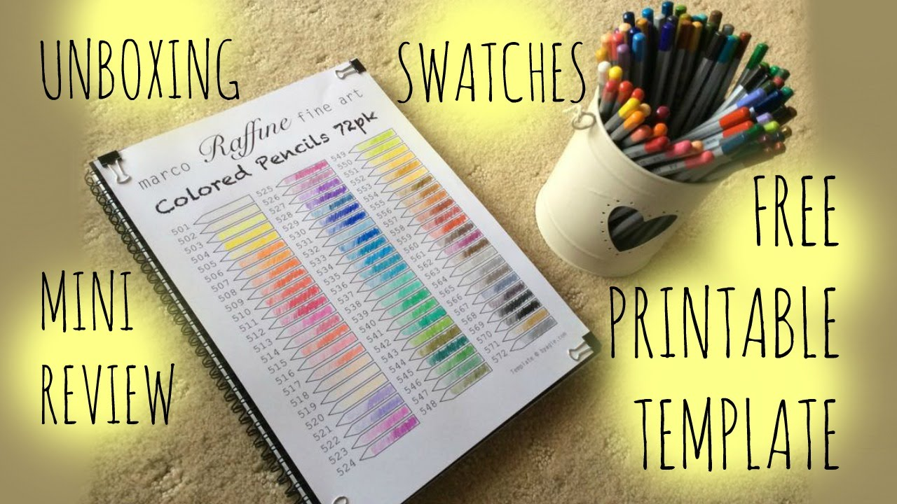 Color art colored pencils - Marco Raffine Fine Art Colored Pencils Review Swatches Free Printable Template Youtube