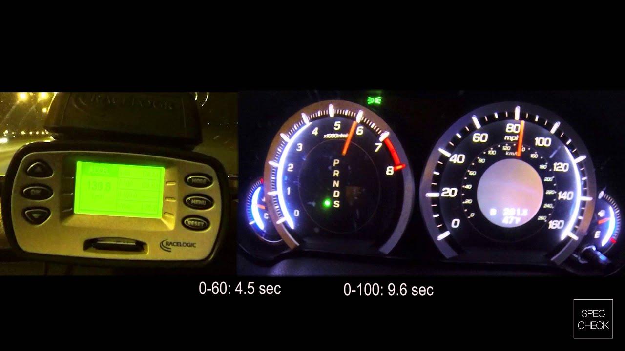 acura tsx 2 4 at 0 100 racelogic acceleration 402m youtube