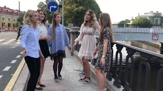 Russian Folk Music. Beautiful girls.St. Petersburg