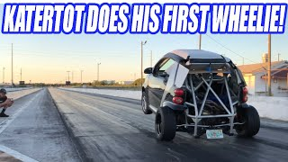TURBO K-Series Smart Car Does WHEELIES!? Learning To Launch The Tiny BEAST!  C7Z06 Down On POWER Fix