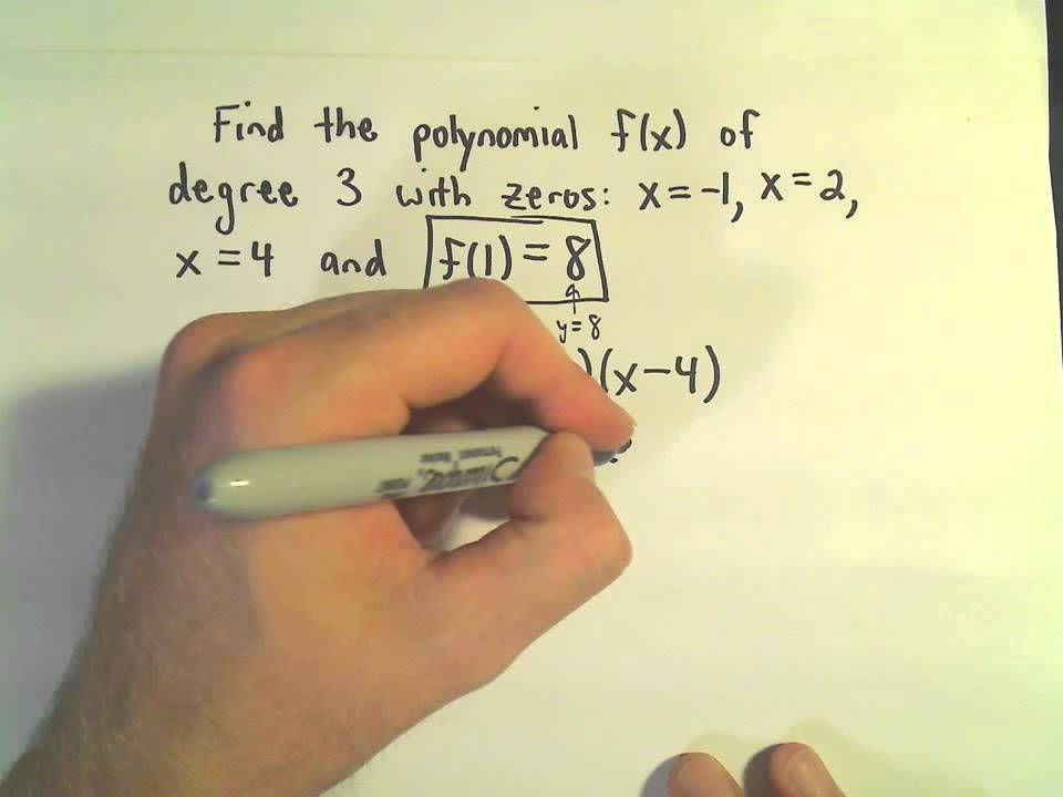 Finding the Formula for a Polynomial Given Zeros/Roots, Degree, and