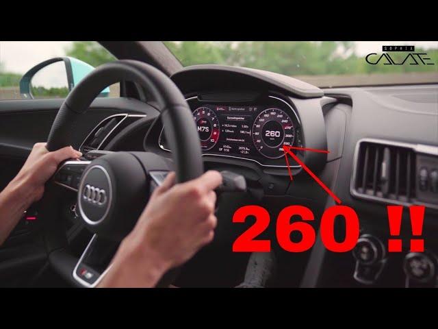Mit Sportwagen auf Autobahn zum Cars & Coffee im Audi R8 RWS
