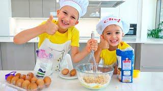 วลาดและนิกิทำอาหารและเล่นกับแม่ - เรื่องตลกสำหรับเด็ก