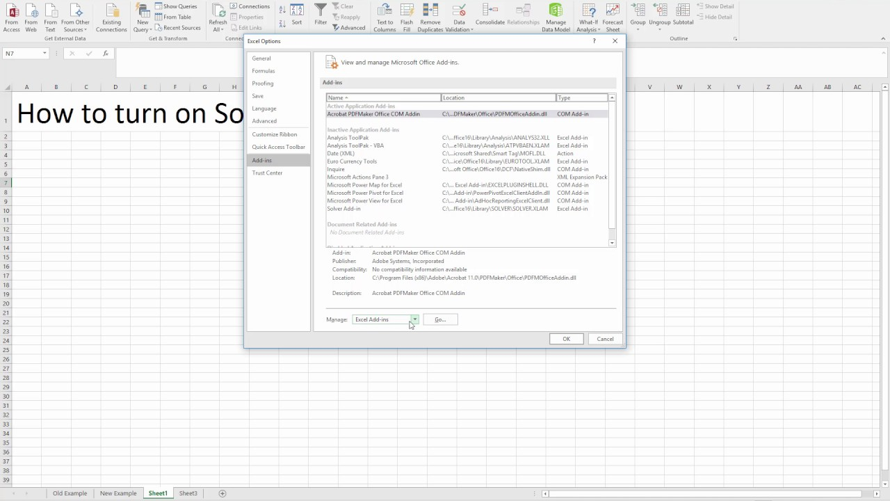 How to Enable the Solver Add-In in Microsoft Excel 2016