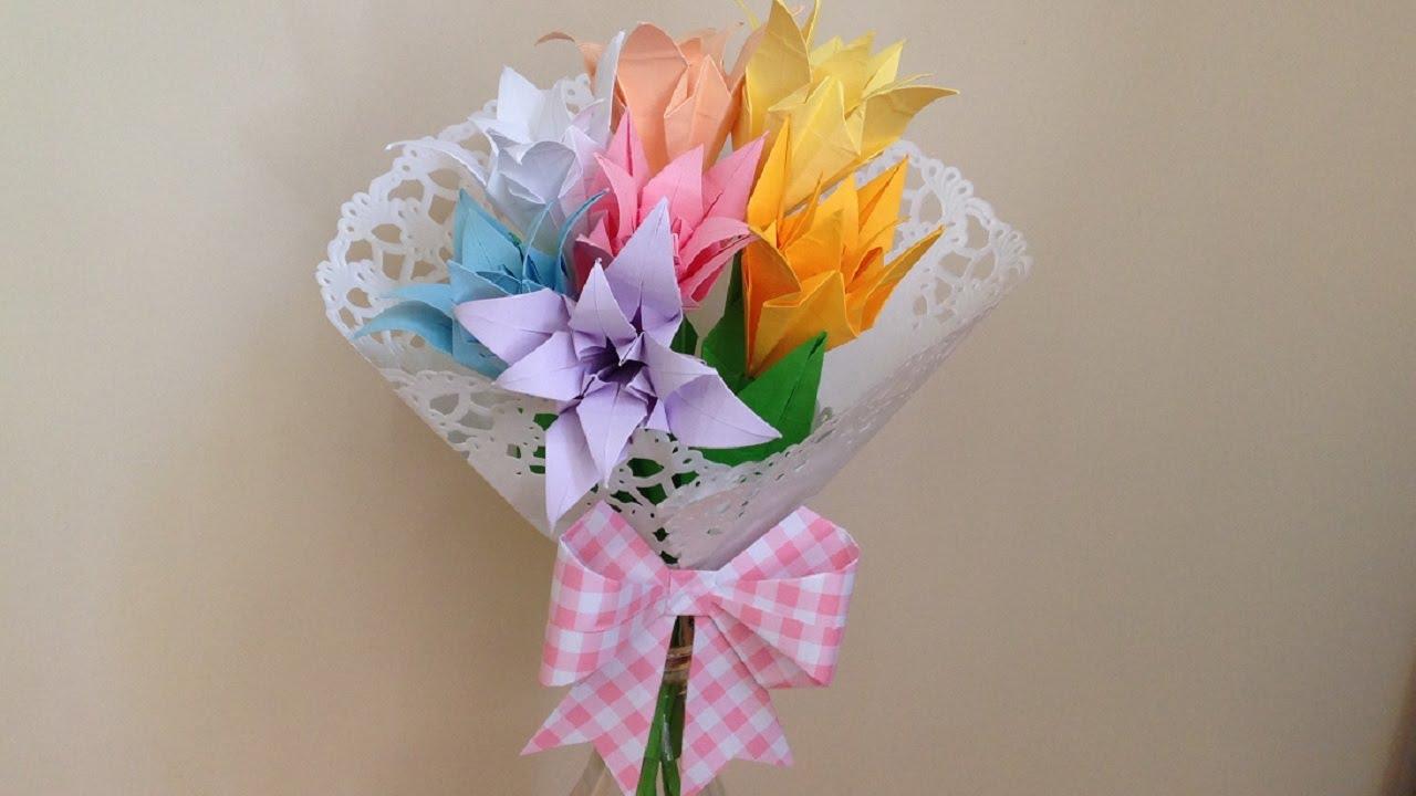 折り紙 花 立体の花束 簡単な折り方(niceno1)Origami flower bouquet , YouTube