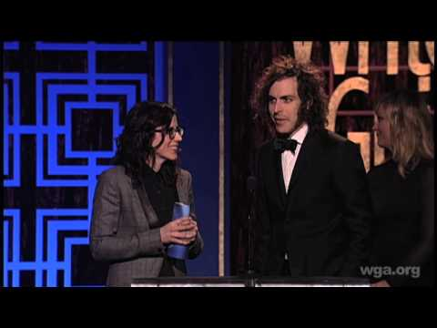Portlandia's Karey Dornetto & Jonathan Krisel accept the WGA Award for ComedyVariety Series