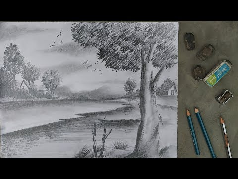 Easy pencil sketch | landscape drawing with pencil | how to draw landscape with pencil