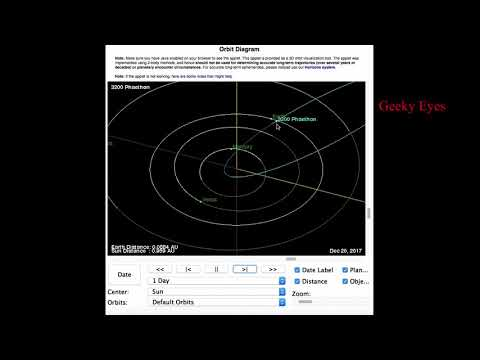 3200 Phaethon - astroid passing near to the earth Dec 2017 | Orbit simmulation