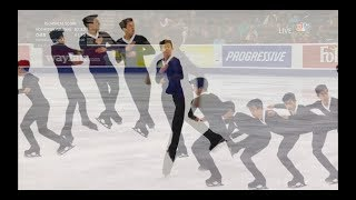 "Nathan Chen ""seat belt"" spin position in the air to Bluebird Pas."