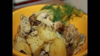Картошка с курицей и грибами в мультиварке рецепт приготування в описах