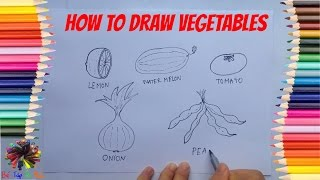 Bé tập vẽ các loại rau củ quả |