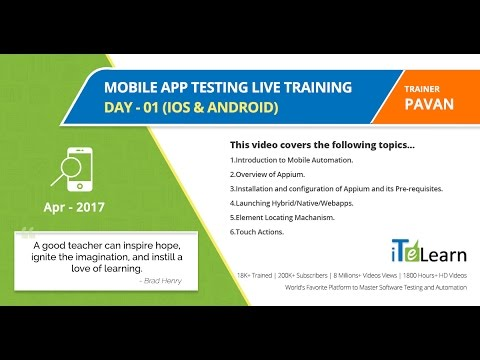 Mobile App Testing Live Training Day 01 (IOS & ANDROID)