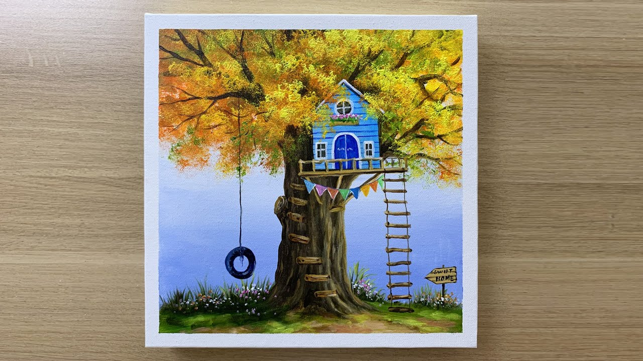 Paint a little house on the tree using Acrylic paints