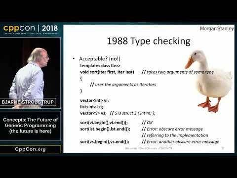 "CppCon 2018: Bjarne Stroustrup ""Concepts: The Future of Generic Programming (the future is here)"""